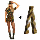 Army Costume With Bullet Belt Soldier Fancy Dress Military Uniform  Womens