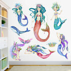 Glitter Mermaid Wall Sticker Bathroom Cartoon Decal Girls Baby Room Art Decor