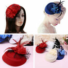 Women Mini Top Hat Fascinator Clip Lace Flower Feather Headband Hair Accessories