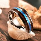 8mm Tungsten Carbide Hawaiian Koa Wood and Abalone Shell Men Titanium Steel Ring image