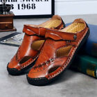 Men Leather Sandals Plus Size Beach Slipper Closed Toe  Hand Stitching Summer