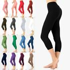 S M L XL Women's Premium Cotton Capri Leggings Yoga Workout Pants OP-1852P