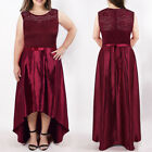 Womans Plus Size Burgundy Lace Round-neck High-low Evening Dress Prom Ball Gowns