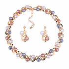 2pc/set Women Wedding Banquet Jewelry Imitation Pearl Necklace Earrings Set Gift
