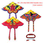 1Set 90*50cm butterfly printed long tail kite outdoor kite toy with handle line`