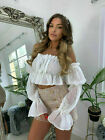 Women's Ladies Off Shoulder Mesh Boob Tube Ruched Frill Ruffle Bardot Crop Top