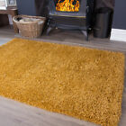 Mustard Yellow Shaggy Fireplace Rug M Size Non Shed Cosy Sofa Hearth Area Rugs