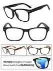 Square Frame Multi Focus Progressive Reading Glasses 3 Strengths in 1 Reader
