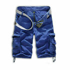 Mens Camo Cargo Shorts Casual Combat Army Military Loose Beach Short Pants Solid