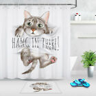 Cute Cat On Hang In There Bathroom Waterproof Fabric Shower Curtain & 12 Hooks