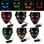 4-Modes Scary Mask Cosplay Led Costume Mask EL Wire Light Up The Purge Movie USA