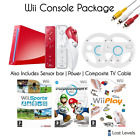Nintendo Wii Console + 17 Games Inc Mario Kart, Play, 2 Controllers + Wheels