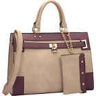 Dasein Two Tone Padlock & Key Satchel with Shoulder