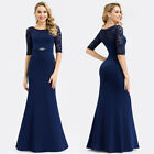Ever-pretty US Formal Evening Party Dresses Long Half-sleeve Lace Mermaid Gowns