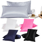 2Pcs Queen King Satin Silk Pillowcase Pillow Case Cover Home Bedding Smooth US image