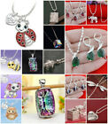 925 Silver Emerald Pendant Jewelry Fashion Women Necklace Drop Earrings Set Gift
