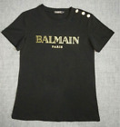 NWT Black Women's Summer Tee Cotton Simple Gold Buttons Letters Bal-main T-shirt