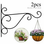 2X Iron Hanging Basket Brackets Outdoor Garden Plant Hanger Hook Wall Bracket US