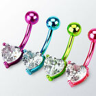 One Titanium Plated 316L Surgical Steel Heart CZ Belly Button Navel Ring NSD1202 image
