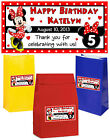 10 MINNIE MOUSE GOODY BAG LABELS STICKERS FOR TREAT BAGS PESONALIZED 2 X 4 IN