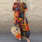 Womens Plaid Check Baggy Summer Dress Casual Holiday Party Long Dress Plus Size