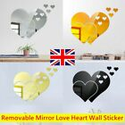 3d Love Heart Mirror Wall Sticker Decal For Tiles Kitchen Home Bedroom Decor Uk