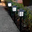 SOLAR POWERED OUTDOOR GARDEN POST GROUND STICK STAKE PATIO PATHWAY LED LIGHTS