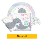 NARWHAL Birthday Party Range - Tableware Decorations Girls Under The Sea Unicorn