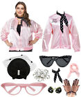 Women 1950s Plus Size Pink Satin Lady Jacket with Neck Scarf Halloween Costume $31.99 USD on eBay