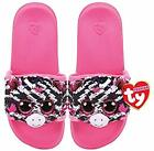 TY ZOEY ZEBRA POOL SLIDES SLIDERS SEQUIN FLIP FLOPS SMALL MEDIUM LARGE BNWT