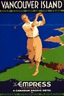"""Vintage Illustrated Travel Poster CANVAS PRINT Vancouver Golf Canada 24""""X36"""""""