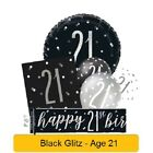*NEW BLACK GLITZ* Age 21 - Happy 21st Birthday - Party Supplies Decorations