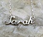 Sterling Silver Name Necklace -SARAH -on Drawn Box Necklace - 0733