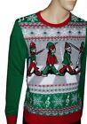 Mens The BEATLES Abbey Road Flashing Light Up Christmas Ugly Sweater Party S NEW