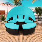 Patio Furniture Outdoor Sectional Sofa Rattan Daybed Sunbed Retractable Canopy