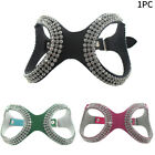 Rhinestone Walking Pet Adjustable Dog Harness Vest Artificial Leather Outdoor