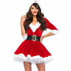 NEW Sexy Lady Santa Claus Suit Christmas Costume Cosplay Outfit Waistbelt Dress