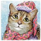 Large Ceramic tile 6x6 Cat 627,629,631,642 winter snow funny art painting LDumas