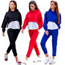 Women Casual Patchwork Tacksuit Sports Hooded Hoodie Sweatshirt Pants 2pcs Set