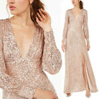 NEW Rose Gold Blush Sparkly Sequined Plunging V Neck Slited Long Maxi Dress Gown