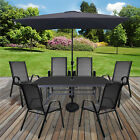 Table & Chairs Set Outdoor Garden Patio Grey Furniture Glass Table Parasol Base