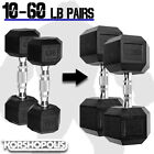Kyпить Rubber Hex Dumbbells 10-60 lb PAIRS Free Weights Home Gym Exercise Training NEW на еВаy.соm