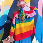 "Womens Lazy Oaf Inspired Rainbow color Sweater ""BORING"" Cardigan Soft Jumper S-L"