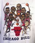 80s 90s RARE Chicago Bulls Team Caricature White Men S-234XL T-shirt L1890 image