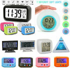 Digital Backlight LED Display Home Desk Alarm Clock Snooze Thermometer Calendar