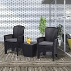3 PCS Rattan Wicker Chair Table Sectional Patio Conversation Furniture Set