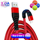 Heavy Duty Braided USB Charger Charging Lead Data Cable 2M 3M For iPhone X 7 6 5