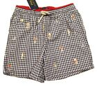 Polo Ralph Lauren Boys Blue Embroidered Graphic Gingham Swim Trunks