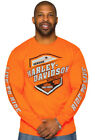 Harley-Davidson Distressed Mens Brazen Hi Vis Safety Orange Long Sleeve T-Shirt $19.99 USD on eBay