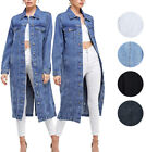 Внешний вид - Women's Long Casual Maxi Length Denim Cotton Coat Oversize Button Up Jean Jacket